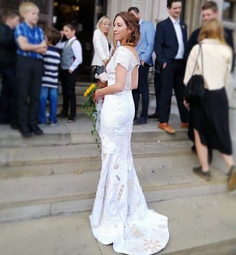 hand-made wedding dress