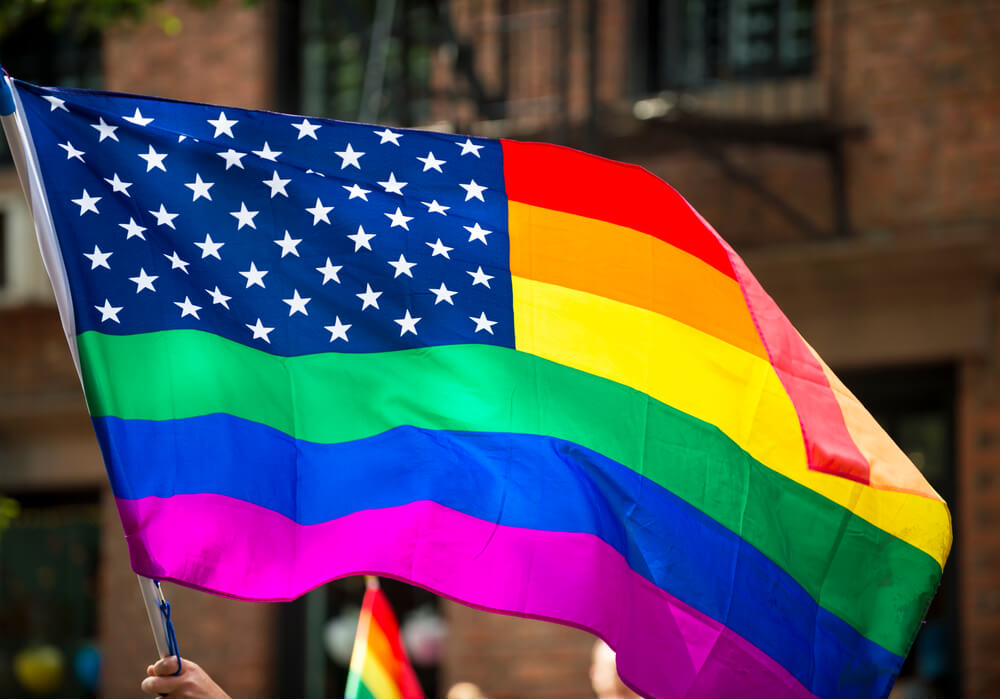 Pride flag mixed with American flag at NYC Pride