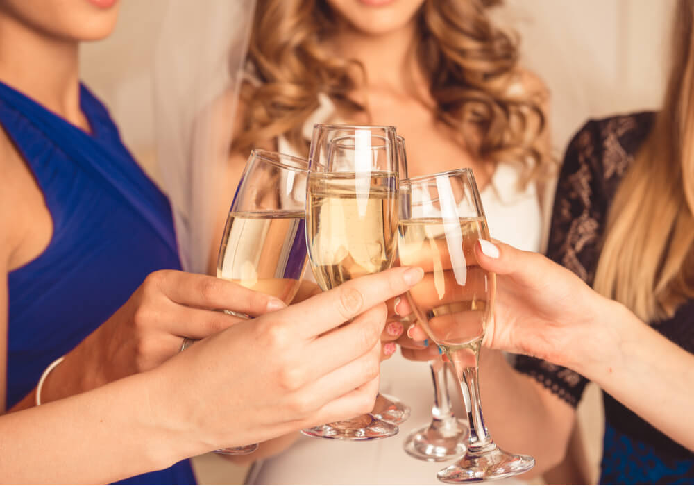 Women celebrating with champagne