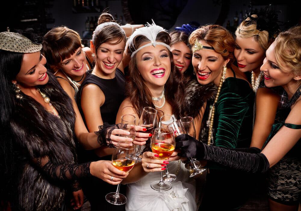 Women on a 1920s themed hen weekend